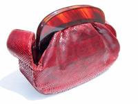 1940's-50's DECO Style Red BOA Skin Handbag w/LUCITE!