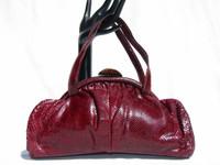 Ruby RED 1940's-50's Art Deco Style BOA Snake Skin Handbag