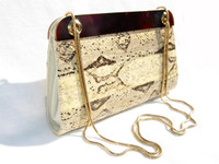 1970's Pale YELLOW BOA Snake Skin & LUCITE Clutch SHOULDER Bag