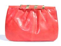 1970's-80's Tomato Red SUSAN GAIL KARUNG Snake Skin CLUTCH Bag