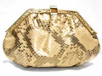 GOLD 1980's PYTHON Snake Skin CLUTCH Shoulder Bag - MARGOLIN