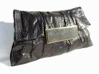 Stunning 1990's R & Y AUGOUSTI BLACK PYTHON Skin CLUTCH Bag