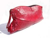 """15"""" XL RED 1940's COBRA Snake Skin CLUTCH Purse"""