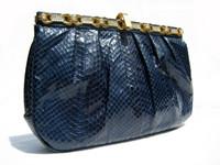 Sleek 1970's-80's BLUE Cobra Snake Skin CLUTCH Shoulder Bag