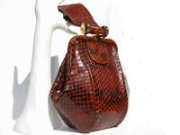 1940's RUST BROWN ANACONDA Snake Skin Deco Style Wristlet Purse