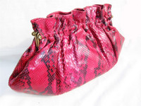 1970's-80's RED Rasberry PYTHON Snake Skin Clutch - ADIGE Paris - FRANCE