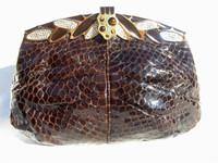 1970's-80's FINESSE LA MODEL BROWN COBRA Snake Skin Clutch Bag