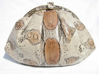 1980's Peach & Tan BOA Snake Skin Shoulder Bag - BUDD LEATHER