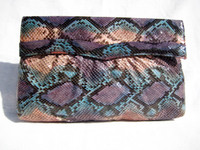 1970's TURQUOISE/PINK/PURPLE PYTHON Snake Skin Clutch - Supreme