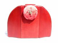 1970's-80's RED Snake Skin CLUTCH Cross Body Shoulder Bag - CARVED STONE