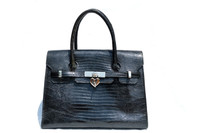 XL 1980's-90's BLACK Birkin Style LIZARD Skin KELLY Bag