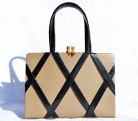 MARTIN VAN SCHAAK 1950's-60's Tan & Black Lizard Skin Handbag - OWLS!
