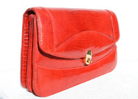 Ruby RED 1950's-60's LIZARD Skin Clutch Shoulder Bag w/Eel Skin Card Case