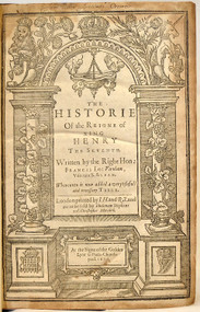 BACON, Francis, Viscount St Alban. The Historie of the Raigne of King Henry the Seventh. (SECOND EDITION - 1629)