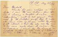 "DODGSON, Charles Lutwidge; [Lewis Carroll] 1 page autograph letter signed, 5"" x 7-7/8"", in purple ink, toning/offset to edges on 3 sides, Christ Church dated May 25, 1878 to Herbert."