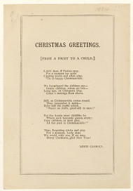 DODGSON, Charles Lutwidge; Lewis Carroll. Christmas Greetings. [From A Fairy To A Child]. (FIRST SEPARATE PRINTING - FIRST EDITION - FIRST ISSUE - 1884)