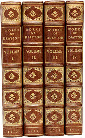 DRAYTON, Michael. The Works of Michael Drayton, Esq., a Celebrated Poet in the Reigns of Queen Elizabeth, King James I and Charles I. (FIRST COMPLETE EDITION - 4 VOLUMES - 1753)
