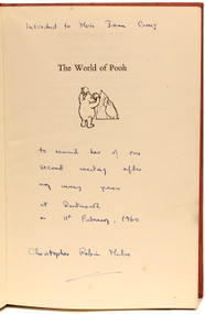 MILNE, A. A.. The World of Pooh Containing Winnie-The-Pooh and The House At Pooh Corner. (FIRST EDITION INSCRIBED BY CHRISTOPHER (ROBIN) MILNE - 1958)
