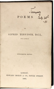 TENNYSON, Alfred Lord. Poems. (SIGNED - SEVENTH EDITION - 1865)