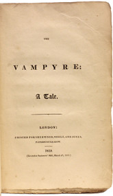 POLIDORI, John William. The Vampyre; A Tale. (FIRST EDITION IN ORIGINAL WRAPPERS - 1819)