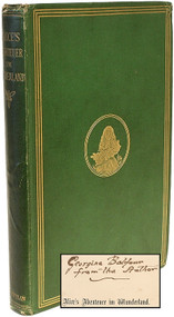 DODGSON, Charles L. (Lewis Carroll). Alice's Abenteuer im Wunderland. (FIRST EDITION FIRST ISSUE PRESENTATION COPY OF THE FIRST FORGEIN LANGUAGE TRANSLATION OF ALICE - 1869)
