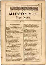 SHAKESPEARE, William. A Midsommer Nights Dreame (A Midsummer Nights Dream) - Shakespeare's Comedies, Histories, & Tragedies. (SECOND FOLIO - 1632)