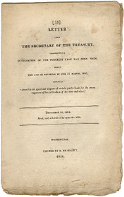 "CRAWFORD, William H.. Letter from the Secretary of the Treasury, transmitting Information... Entitled ""An act to set apart & dispose of certain public lands for the encouragement of the cultivation of the vine & olive."" (FIRST & ONLY EDITION - 1818)"
