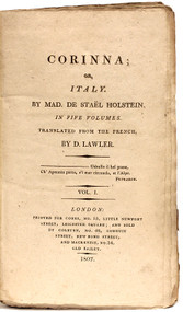 STAEL HOLSTEIN, Anne Louise Germaine de. (D. Lawler - translator). Corinna; on, Italy. (FIRST ENGLISH EDITION - 5 VOLUMES - 1807)