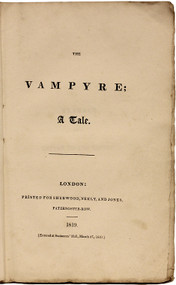 POLIDORI, John William. The Vampyre; A Tale. (FIRST EDITION THIRD ISSUE - 1819)