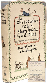 MILNE, A. A.. The Christopher Robin Story Book from When We Were Very Young, Now We Are Six, Winnie-The-Pooh, The House At Pooh Corner. (2nd ED INSCRIBED BY CHRISTOPHER ROBIN MILNE & SIGNED BY ERNEST SHEPARD WITH CORRESPONDENCE REGARDING THE SIGNING)