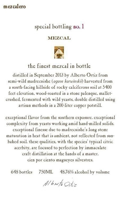 Mezcalero Special Bottling no. 1