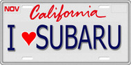 1/10 SCALE LICENSE PLATE FOR RC CAR * I LOVE SUBARU *