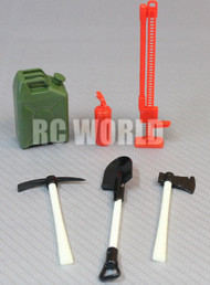 RC Scale TOOL ACCESSORIES Shovel-Axe-Fuel Container-Jack -Fire For Roof Rack