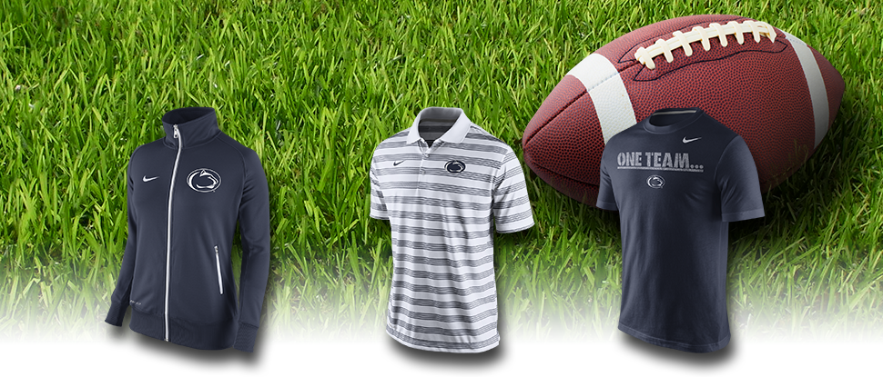 A background picture of a football in a grassy field with three great penn state clothing items pictured in the foreground.
