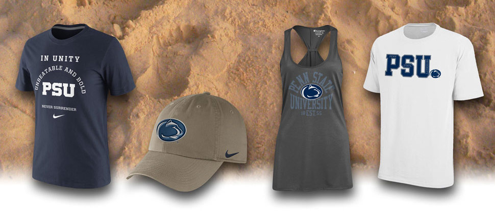 A picture of beach sand with four summer-themed Penn State Alumni Store products displayed over it.
