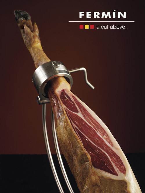 Whole bone in acorn fed 100% Iberico Ham by Fermin   • Iberico Ham • Whole bone-in  • Free range - 100% acorn fed • La Alberca, Salamanca Spain • 15 lbs. •Free range-acorn fed certified •4 years curing process