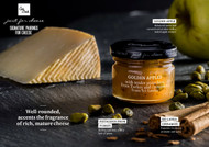 •Golden Apples with pistachios and cinnamon •Just for Cheese •For pairing with hard paste cheeses •Produced in Barcelona, Spain •2.57 oz  73 g Golden Apples with tender pistachios from Turkey and Sri Lanka cinnamon for pairing with hard paste cheeses.