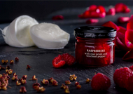 •Raspberries with rose petals and Szechuan pepper •Just for Cheese •For pairing with fresh and soft cheeses •Produced in Barcelona, Spain •2.57 oz  73 g  Raspberries with rose petals and Szechuan pepper for pairing with fresh and soft cheeses.