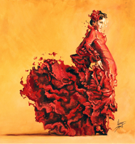 "Karina Llergo embellished canvas 26"" x 26"" - Passion - red spanish Passion - flamenco woman dancer.  •Embellished canvas •Acrylic and oil •26"" x 26"" •Main colors: red, yellow, orange •10-14 days delivery •Acrylic and oil painting of Flamenco woman dancer with flowing dress."