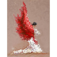 "Karina Llergo embellished canvas 26"" x 40"" - Fire - red and white Spanish flamenco woman dancer.  •Embellished canvas •Acrylic and oil •26"" x 40"" •Main colors: red, white •10-14 days delivery •Acrylic and oil painting of Flamenco woman dancer with flowing shawl."