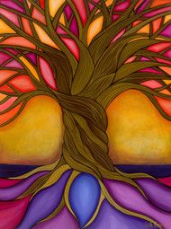 "Tree of Life Giclee print Acrylic 24"" x 32"" Main colors: orange, yellow, pink, blues and purple 10-14 days delivery Stretched canvas ready to hang"