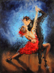 "Melting - Tango couple Embellished canvas Acrylic and oil 18"" x 26"" Main colors: red, black, blue 10-14 days delivery Acrylic and oil painting of Flamenco woman dancer with flowing dress"