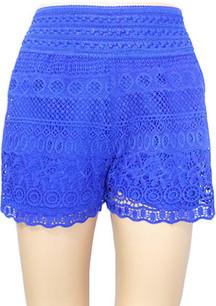 SH02 Blue Crochet Shorts