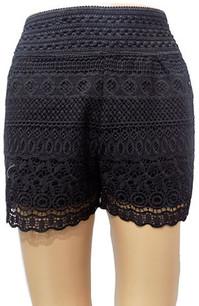 SH02 Black Crochet Shorts