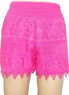 SH01 Fuschia Crochet Shorts