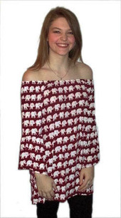 1238 Red/White Small Elephant Tunic