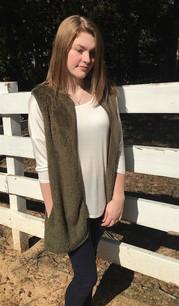T15328 Olive Fur Vest