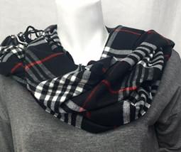 Black/White Plaid Cashmere-Feel Scarf