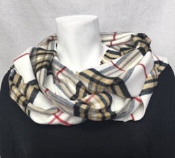 White Plaid Cashmere-Feel Scarf