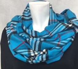 Blue Plaid Cashmere-Feel Scarf